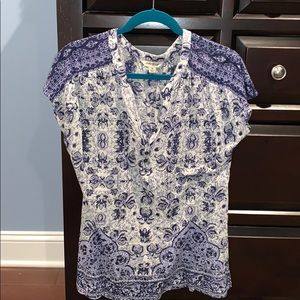 Lucky brand boho short sleeved top M